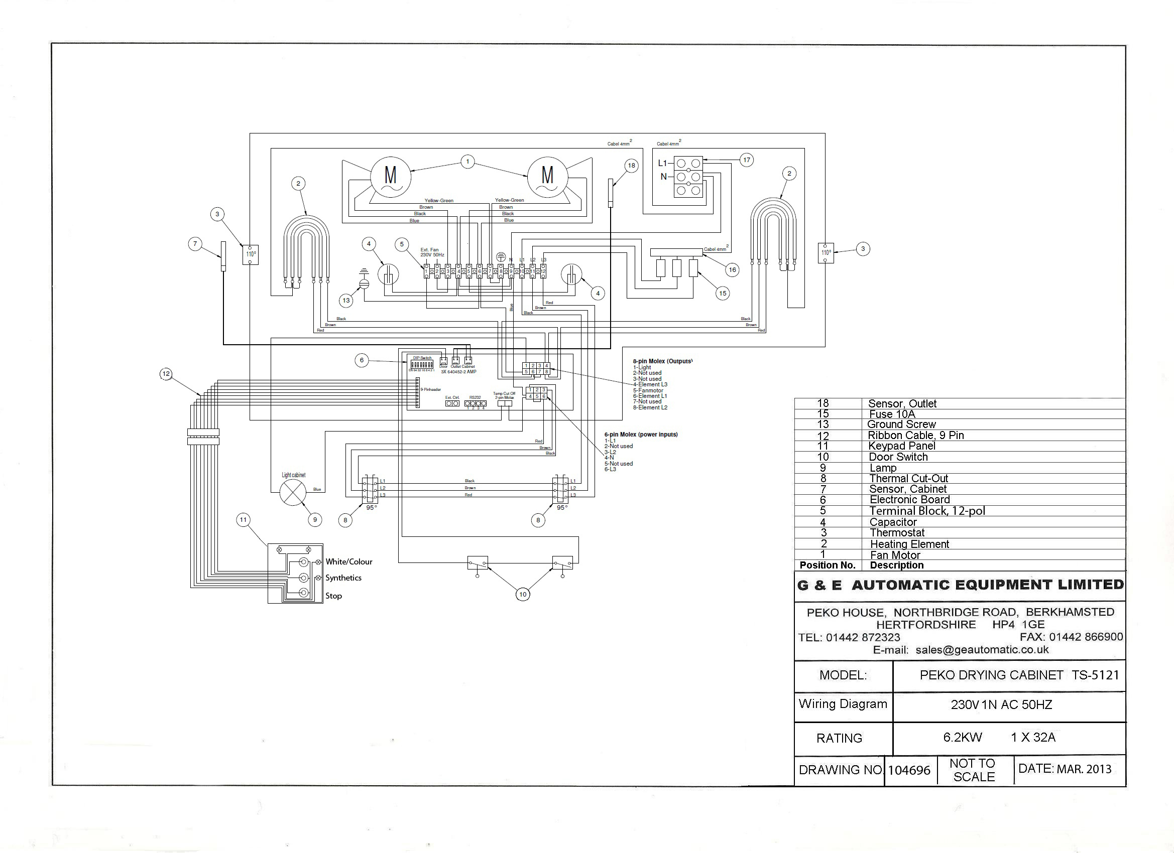 TS5121 wiring diagram 230v single phase1 wiring diagrams peko drying cabinets Basic Electrical Wiring Diagrams at edmiracle.co