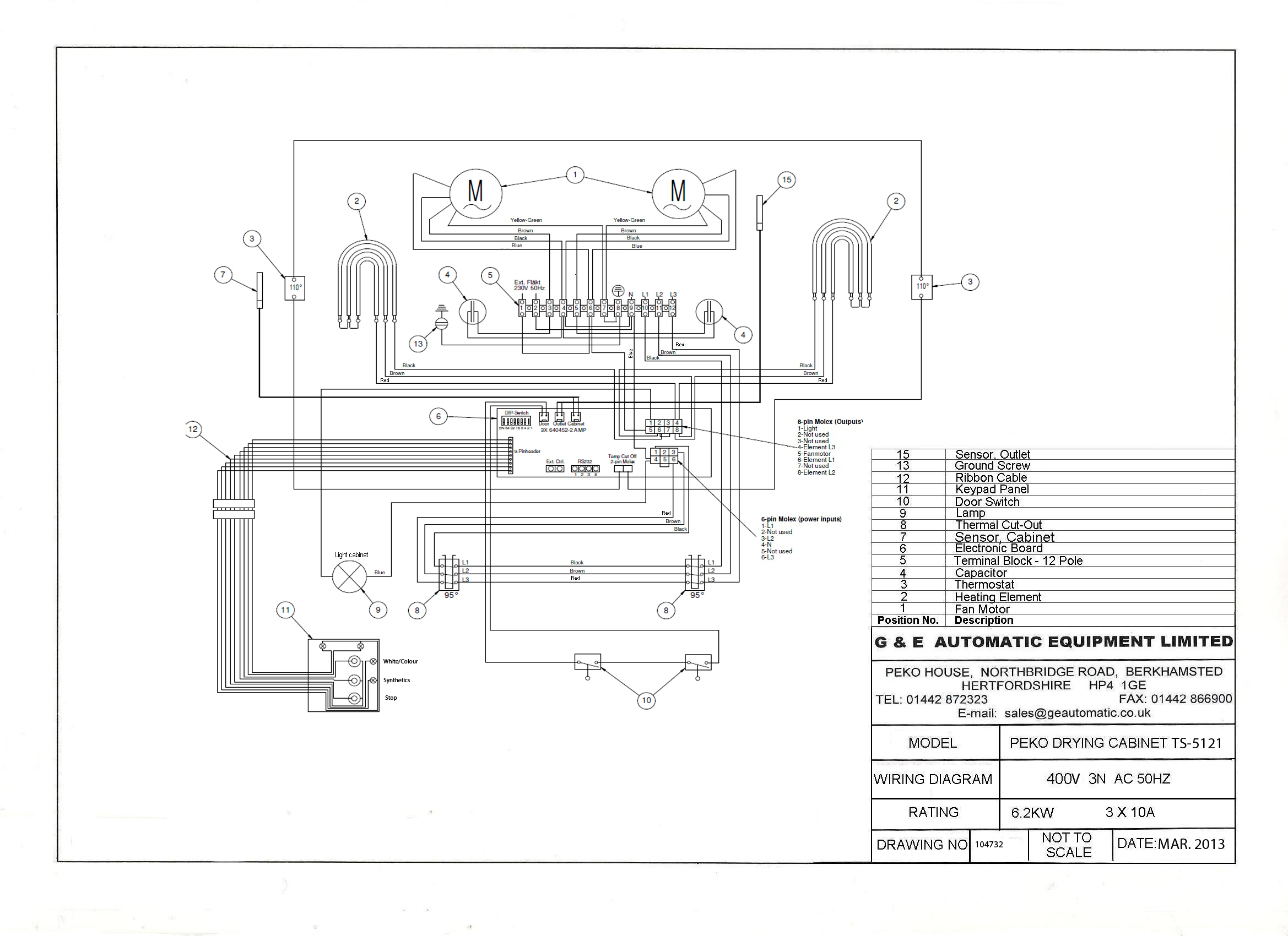 TS5121 wiring diagram 400v Three phase English1 wiring diagrams peko drying cabinets